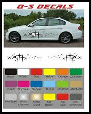 Car Side Stripe Stars Decals Graphics Stickers BG037 Any Colour both sides