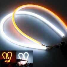 2X 60CM Flexible Tube Headlight Car LED Strip White DRL Amber Turn Signal Lights