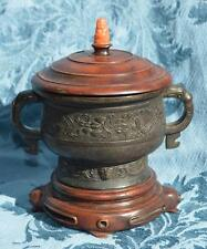 antique chinese bronze incense burner censer marked lid coral budda