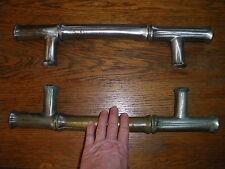 2 ancienne poignées de porte en bronze étamé objet ancien déco serrure poignée