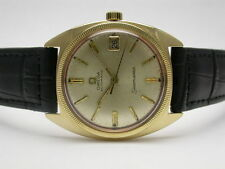 OMEGA 0585 SEAMASTER 14K GOLD BLACK LEATHER BAND MENS WATCH