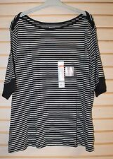 NEW WHITE STAG WOMENS PLUS SIZE 4X BLACK & WHITE STRIPE BOAT NECK TEE SHIRT TOP