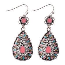 Women Vintage Bohemian Boho Crystal Multicolor Enamel Waterdrop Flower Earrings