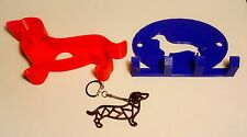 Daschund set, cookie cutter,leash holder, & keychain,3D printed,assorted colors