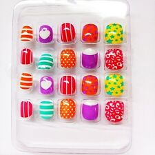 20pcs Candy Color Stars Dots Stripe Press On Nails Full Cover False Finger Nails