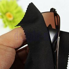 10 Black Microfiber Cloth Glasses Cleaner Camera Lens Gentle Surfaces Wipe DH