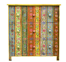 Hand Painted Sideboard Cabinet Drawer Unit  Indian Moroccan Multi Color Boho