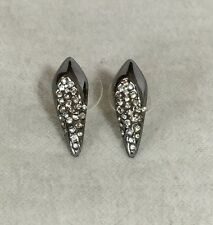 NEW Alexis Bittar Gunmetal Crystal Spike Kite Mini Stud Earrings $95
