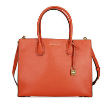 Michael Kors Mercer Large Bonded Leather Tote - Orange