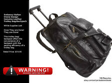 Black Leather Rolling Suitcase Bag Carry-On Backpack Trolley Luggage Case