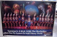 "EASTERN AIRLINES ORIGINAL POSTER ""Disney World, Rockettes, Mickey Mouse"" 1985"