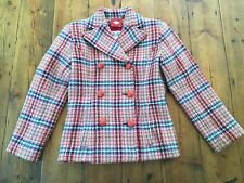 OILILY NWOT Girls Pink Plaid Wool Coat Jacket- Size 7/8 128- Retails $220
