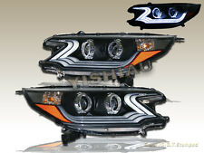 2012-2013 Honda CR-V CRV Black i8 Style Projector Headlights Amber Reflectors