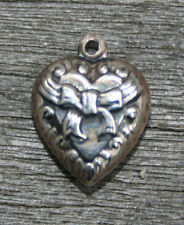 VINTAGE STERLING SILVER PUFFY HEART CHARM - Repousse Bow with Swirls border