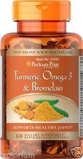 Puritans Pride Premium Turmeric, Omega-3 & Bromelain 60 Capsules