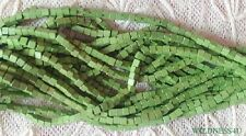 50 VINTAGE WOOD SQUARE BEADS Kiwi Green 3mm Handmade Jewelry Macrame Crafts lot