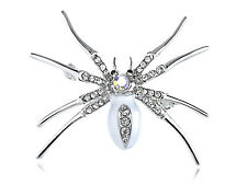 White Enamel Body Crystal Rhinestone Halloween Spider Jewelry Pin Brooch Cute