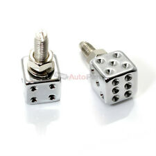 (2) Chrome Dice License Plate Frame Bolts-Screw Caps for Motorcycle-Chopper-Bike