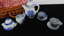 NEW 17PC Miniature PORCELAIN Doll House TEA SET Picnic Basket Flatware Pot Cups!