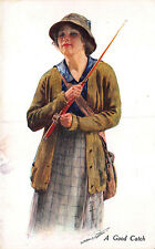 """A Good Catch"" Woman Fly Fishing Outfit  Signed Postcard"