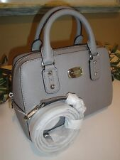 MICHAEL KORS SAFFIANO LEATHER SHOULDER SMALL SATCHEL TOTE BAG PEARL GREY $268