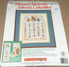 "1991 Dimensions Christmas ""Blessed Nativity Advent Calendar"" X-Stitch Kit 12x16"""