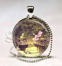 Fairy and frog Cabochon Glass Necklace Pendant Ball Chain Necklace.