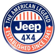 "Jeep 4x4 ""The American Legend"" 7"" Diameter Tin Sign - New-"