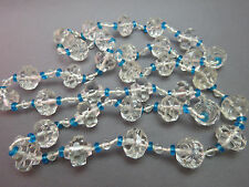 Art Deco Chunky Cut Crystal Necklace Beads Flat Blue Saucer Round Spacers Strand