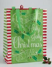 NWT DII REUSABLE GROCERY Shopping HOLLY JOLLY CHRISTMAS Gift Tote BAG