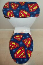 SUPERMAN Logo Fleece Fabric Toilet Seat Cover Set Bathroom Accessories