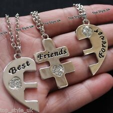 Three Best Friends Forever Heart Bracelets Sisters Xmas Gifts for Her Girls U4