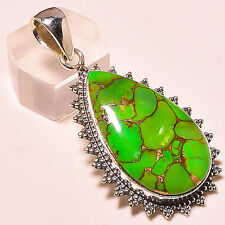 """COPPER GREEN TURQUOISE VINTAGE STYLE 925 STERLING SILVER PENDANT 2"""""""