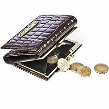 Crocodile Skin Clasp Clip Coin Purse Ladies Vintage Leather Card Walllet