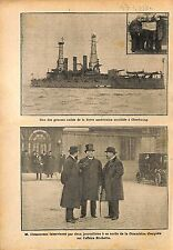 US Navy Ship Rade Cherbourg George Clemenceau Affaire Rochette 1910 ILLUSTRATION