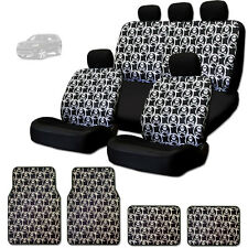 NEW COOL SKULL DESIGN FRONT AND REAR CAR SEAT COVERS FLOOR MATS SET FOR JEEP