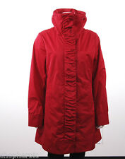 NWT Rain Forest Women's Travel Rain Jacket Coat w/Hood Ruched Front Red Small