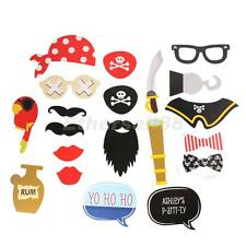 20 Pcs Pirate Theme Family Wedding Party Photo Booth Props Masks on a Stick