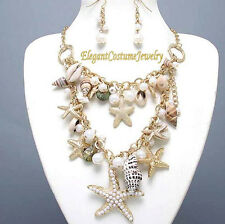 Sea Shells Pearl Starfish Gold Necklace Set Chunky Elegant Nautical Jewelry