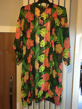 Sexy sheer Tropical print Kimono/Kaftan Beach cover up - PLUS SIZE 16/18 - BNWT