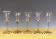 Antique Perfect 5 x Dutch/English Wine-Glass Ribbed Stem 18TH C.