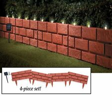 Set of 4 Solar Powered Lighted Faux Brick Garden Border Edging