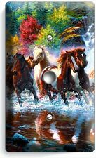 WILD RUNNING HORSES FOREST WATERFALL LIGHT DIMMER VIDEO CABLE WALL PLATE COVER