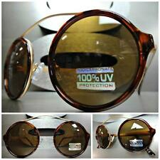 VINTAGE RETRO CYBER SUN GLASSES Unique Flexible Round Tortoise & Copper Frame