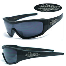Mens Choppers Motorcycle Riding Sports Fire Logo Sunglasses - Matte Black C40