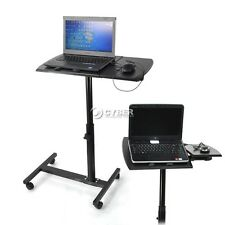 Angle Height Adjustable Rolling Laptop Desk Over Bed Hospital Table Stand Tray