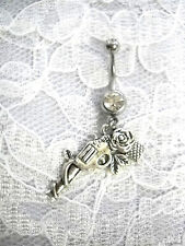LADY SHOOTER REVOLVER GUN PISTOL w ROSE FLOWER CHARM CLR CZ BELLY BUTTON RING
