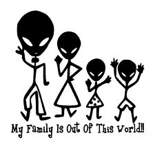 Alien Family Out of This World...Unique Vinyl Graphic Decal Car Window Sticker