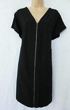 NEXT BNWT black navy work office work wear front zip shirt slouch dress 10/12 P
