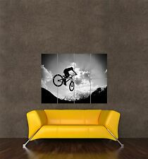 POSTER PRINT PHOTO SPORT BMX MOUNTAIN BIKE JUMP BICYCLE SILHOUETTE CLOUDS SEB431